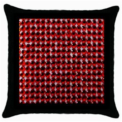 Deep Red Sparkle Bling Black Throw Pillow Case by artattack4all