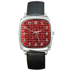 Deep Red Sparkle Bling Black Leather Watch (square) by artattack4all