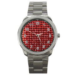 Deep Red Sparkle Bling Stainless Steel Sports Watch (round) by artattack4all