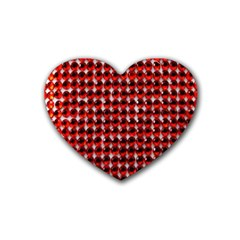 Deep Red Sparkle Bling 4 Pack Rubber Drinks Coaster (heart) by artattack4all