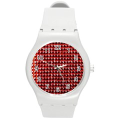 Deep Red Sparkle Bling Round Plastic Sport Watch Medium by artattack4all
