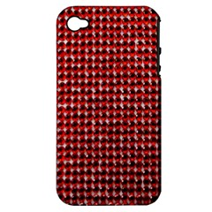 Deep Red Sparkle Bling Apple Iphone 4/4s Hardshell Case (pc+silicone) by artattack4all
