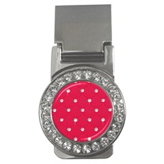 Red Diamond Bling  Money Clip With Gemstones (round) by artattack4all