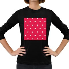 Red Diamond Bling  Dark Colored Long Sleeve Womens'' T Shirt