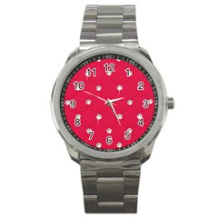 Red Diamond Bling  Stainless Steel Sports Watch (round)