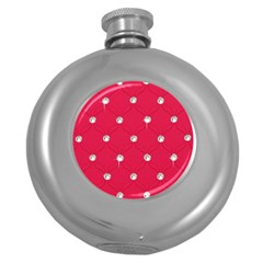 Red Diamond Bling  Hip Flask (round) by artattack4all