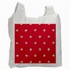 Red Diamond Bling  Twin Sided Reusable Shopping Bag by artattack4all