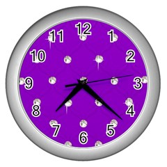 Royal Purple Sparkle Bling Silver Wall Clock by artattack4all