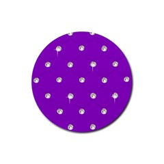 Royal Purple Sparkle Bling Rubber Drinks Coaster (round) by artattack4all