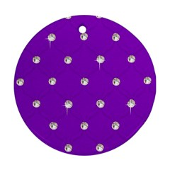 Royal Purple Sparkle Bling Twin Sided Ceramic Ornament (round) by artattack4all