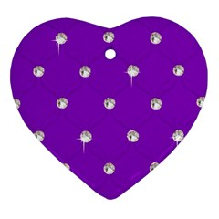 Royal Purple Sparkle Bling Heart Ornament (two Sides) by artattack4all