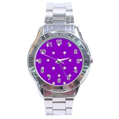 Royal Purple Sparkle Bling Stainless Steel Analogue Watch (round) by artattack4all
