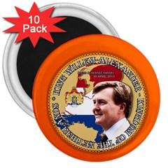 King Willem-Alexander 10 Pack Large Magnet (Round)