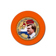 King Willem Alexander Rubber Drinks Coaster (round)
