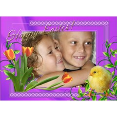 Happy Easter 3d Circle Card By Deborah   Circle Bottom 3d Greeting Card (7x5)   Dw4lr711rhvx   Www Artscow Com Front