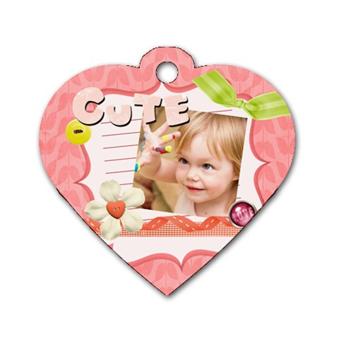 Kids, Love, Family, Happy, Play, Fun By Jacob   Dog Tag Heart (one Side)   Xyb4e1t3jg6q   Www Artscow Com Front
