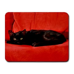Black Cat Edgar Small Mousepad by MandaMacabre