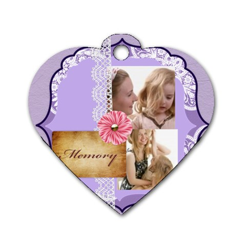 Mothers Love, Mon, Happy, Family, Heart,flower By Joely   Dog Tag Heart (one Side)   29rq2prm90e5   Www Artscow Com Front