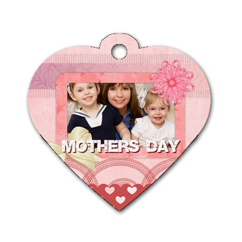 Mothers Love, Mon, Happy, Family, Heart,flower By Joely   Dog Tag Heart (one Side)   I20vz1r2wtgb   Www Artscow Com Front