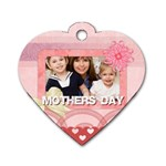 mothers love, mon, happy, family, heart,flower - Dog Tag Heart (One Side)