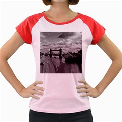 River Thames Waterfall Colored Cap Sleeve Raglan Womens  T Shirt by Londonimages