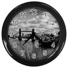 River Thames Waterfall Black Wall Clock by Londonimages