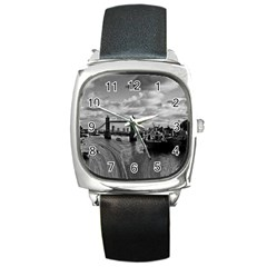 River Thames Waterfall Black Leather Watch (square) by Londonimages