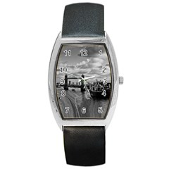River Thames Waterfall Black Leather Watch (Tonneau) by Londonimages