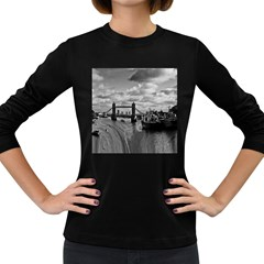 River Thames Waterfall Dark Colored Long Sleeve Womens'' T Shirt by Londonimages