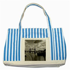 River Thames Waterfall Blue Striped Tote Bag by Londonimages