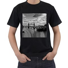 River Thames Waterfall Black Mens'' T Shirt by Londonimages