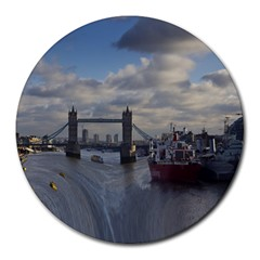 Thames Waterfall Color 8  Mouse Pad (round) by Londonimages