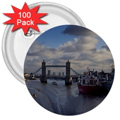 Thames Waterfall Color 100 Pack Large Button (round) by Londonimages