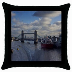 Thames Waterfall Color Black Throw Pillow Case