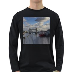 Thames Waterfall Color Dark Colored Long Sleeve Mens'' T Shirt