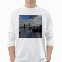 Thames Waterfall Color White Long Sleeve Man''s T Shirt by Londonimages