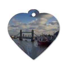 Thames Waterfall Color Single Sided Dog Tag (heart)