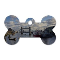 Thames Waterfall Color Single Sided Dog Tag (bone) by Londonimages
