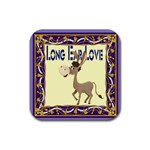 Longear love Rubber Square Coaster (4 pack)