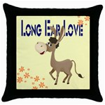 Longear love Throw Pillow Case (Black)