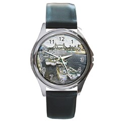 River Thames Art Black Leather Watch (round) by Londonimages