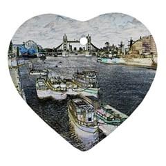 River Thames Art Ceramic Ornament (heart)