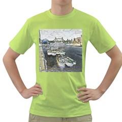 River Thames Art Green Mens  T Shirt