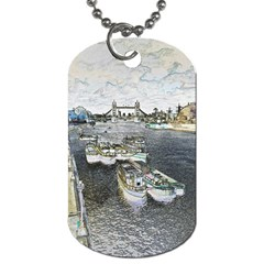 River Thames Art Single Sided Dog Tag by Londonimages