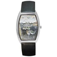 River Thames Art Black Leather Watch (tonneau)