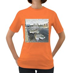 River Thames Art Dark Colored Womens'' T Shirt by Londonimages
