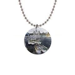 River Thames Art Mini Button Necklace