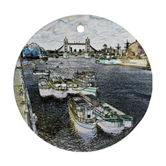 River Thames Art Twin Sided Ceramic Ornament (round)