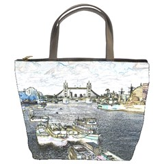 River Thames Art Bucket Handbag by Londonimages