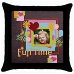 kids, fun, child, play, happy - Throw Pillow Case (Black)